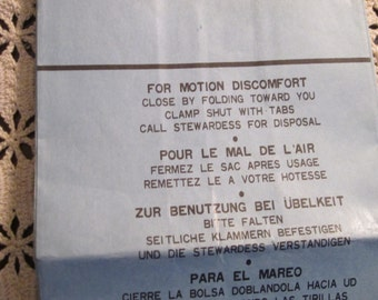 """Souvenir """"Motion discomfort Bag"""" from Pan American Airlines"""
