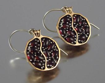 POMEGRANATE garnet bronze & silver earrings