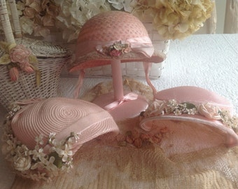 Three gorgeous vintage pink flowered millinery hats