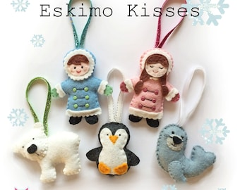 Eskimo Kisses Christmas Ornament decorations - pdf pattern, sewing pattern, diy, tutorial, tree decorations, wool felt, bear, seal, penguin