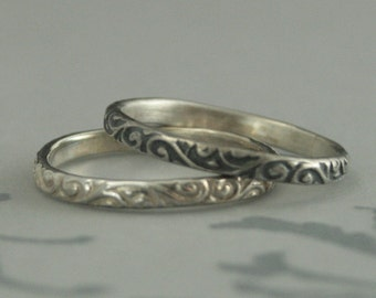 Skinny Flourish Band--Sterling Silver Stacking Ring--Sterling Silver Wedding Band--Women's Thin Band--Women's Thin Silver Band-Embossed Band