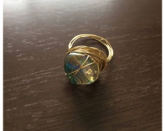 Wire-wrapped Glass Bead Ring