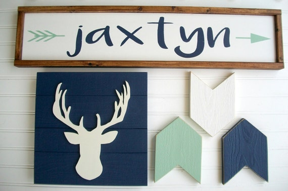 Woodland Nursery set . Tribal Nursery . Large Name Sign . Custom Baby Name Sign . Antler . Arrows . Name Sign .  Rustic Nursery set . Boho