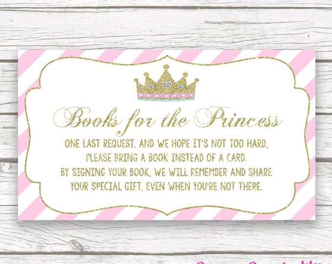 Bring a Book Instead of a Card Baby Shower Insert, Princess Baby Shower, Pink and Gold Princess, Stock Baby's Library, Printable Girl Shower