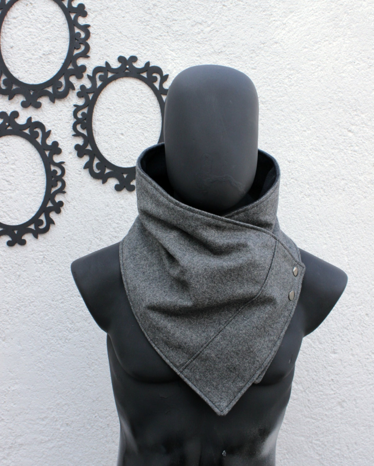 Boyfriend Gift,Christmas,Unisex scarf.Mens,womens cowl,Oxford grey wool,metalic snap.Modern and cozy.Mens winter.gift for men,women,autumn