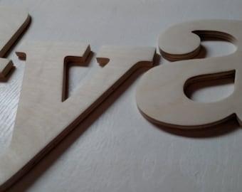 "7"" Unpainted Wood Letters & Numbers."