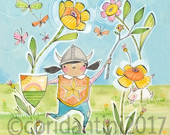 Girl Powers, Little Girls with viking hat filled with love wall Art Print by cori dantini 8 x 8 Nursery Girls Room  Archival Limited edition