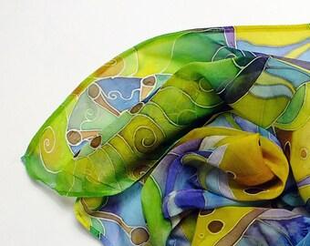 Natural silk Hand painted silk scarf in yellow, blue, brown painted silk. Batik scarf silk painting. Luxury Silk shawl