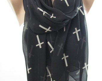 Clothing Gift Cross Scarf Black White Scarf Infinity Scarf Holiday Christmas Gift For Her For Mom For Wife For Grandmother For Mom