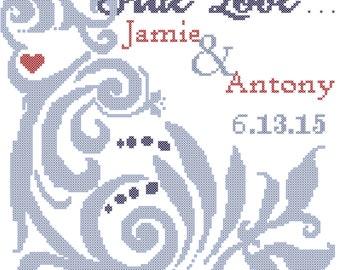 Modern Wedding Cross Stitch Pattern Ampersand wedding record