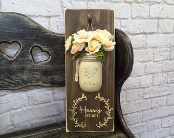 Anniversary Gift | Mason Jar Home Decor | Family Established Sign | Wedding Established Sign | Rustic Wood Sign | Custom Sign | Name Sign