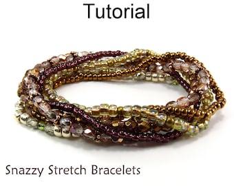 Beginner Beading Patterns - Easy Jewelry Making Tutorials - Beaded Stretch Bracelets - Simple Bead Patterns - Snazzy Stretch Bracelets #5002