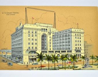 U.S. Grant Hotel in San Diego California Postcard 1930's