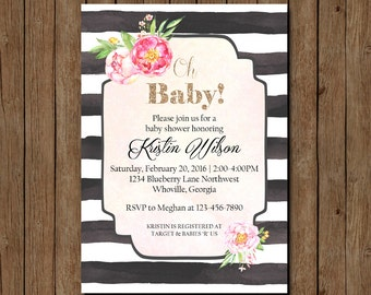 Baby Shower Invitation, Floral Baby Shower Invite, Modern Baby Shower Invititation, Printable Baby Shower Invite, Baby Sprinkle Invitation