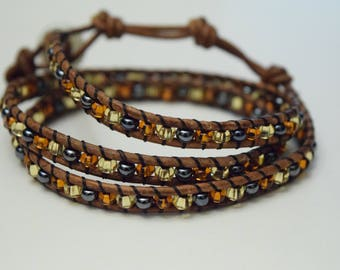 Amber, Gold, Metal and Brown Triple Wrap Leather Bracelet