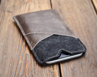 iPhone 6 sleeve Leather iPhone 7 case Credit card case iPhone 6s case Gift ideas Phone pouch