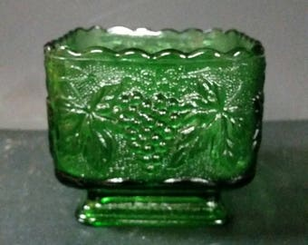Vintage green square open candy dish, candle holder, vase.  Grape and leaf design