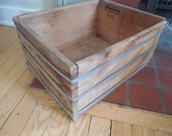 Primitive Wood With Metal Bands Crate Box....Dunning Corporation