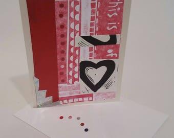 Handmade Valentines card, recycled mixed media notecard