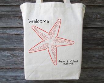 Wedding Welcome Bag, Wedding Guest Bag, Starfish Tote, Beach Tote, Wedding Tote, Beach Wedding Tote, Destination Wedding Tote, Wedding Gift