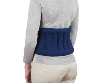 Microwaveable Lower Back Heating Wrap With Straps, Anti-Pill Fleece, Navy Blue, Back Wrap, Moist Heat, Back Pain Releif