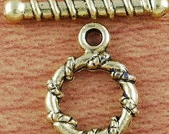 2 15 4 x 11 gold tone rope toggle clasps, 9mm