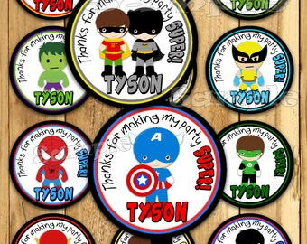 Superhero Thank you tags Baby Shower stickers boy super hero Party favor tags Custom Gift tags Cupcake toppers  Birthday Party tags PRECUT
