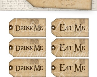 Printable Alice in Wonderland Drink Me Tags Eat Me Tags digital download wonderland party instant download digital collage sheet - VD0352