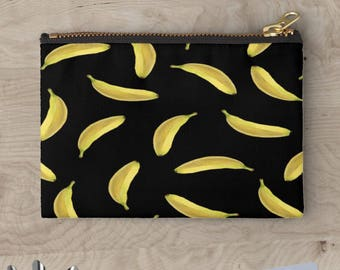 BANANAS Accessory Case Fruit Food Black Yellow  Pouch Cosmetic Bag Purse Clutch Accessory Makeup Bag