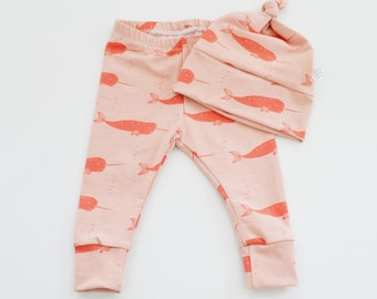 Baby Girl Organic Pants, Nautical Baby Clothes, Modern Baby, Baby Joggers, Coming Home Outfit, Narwhal, Pink Leggings, Organic Baby Clothing