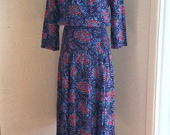 Vintage 80s Retro Maxi Dress Vibrant Abstract Print Purple Sz M
