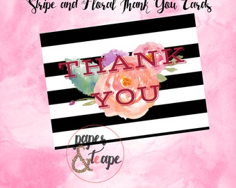 Water Color Thank You Cards - Folded