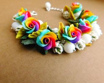 Rainbow Roses Bracelet Rainbow Jewelry Roses Bracelet Rainbow Bracelet Rainbow Roses Polymer Jewelry  Colorful Bracelet