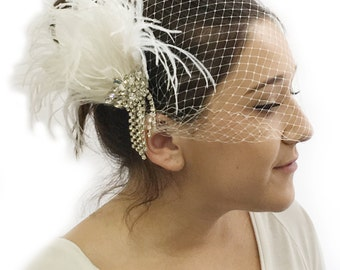 Bandeau Birdcage Veil - Ivory or White - Quality French Net - 20cm Bridal Veil - Handmade Bandeau Veil