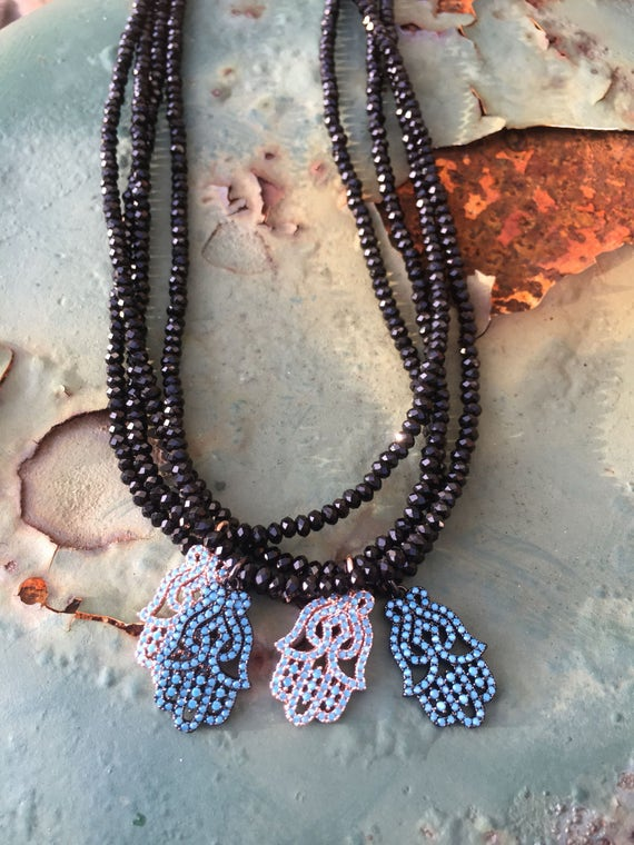 Micro Turquoise CZ Pave Hamsa Necklace