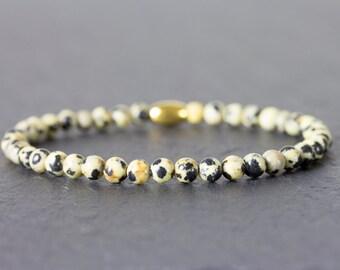 Mens bracelet, jasper bracelet, mens jasper bracelet, dalmatian bracelet, dalmatian jasper, 4mm, gift for man, mens gift, boyfriend gift.