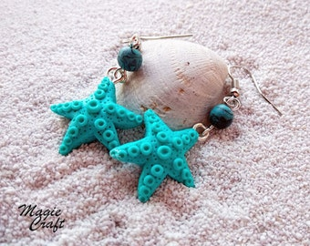 Starfish - Sea Star Earrings - Handmade in Polymer Clay