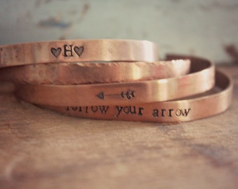 Set of Copper Cuff Bracelets, Personalized Cuff Bracelet, Follow Your Arrow Cuff Bracelet, Copper Bracelet, Hammered Copper Rustic Cuff