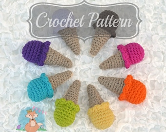 Crochet Pattern, Crochet Ice Cream, Ice Cream Cone, Amigurumi Pattern, Mini Ice Cream Cone, Ice Cream Rattle, Crochet Rattle PDF