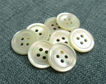 """Ocean Sunset: 3/4"""" (19mm) Ocean Pearl Buttons - Set of 8 New / Unused Vintage Buttons"""