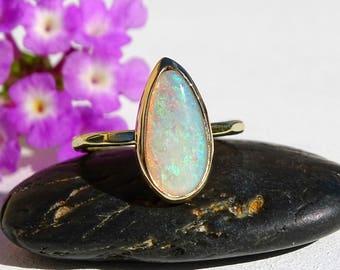opal engagement ring, gold opal ring, opal proposal ring gold, gold promise ring opal, wedding ring Australian opal, luxurious opal ring