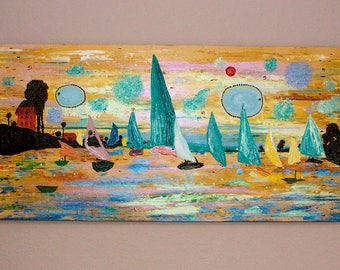 ORIGINAL Seascape Canvas Monet INSPIRED Art Painting 48x24 inches Modern Heavily Textured Home Decor Iridescent by Heather R Lange