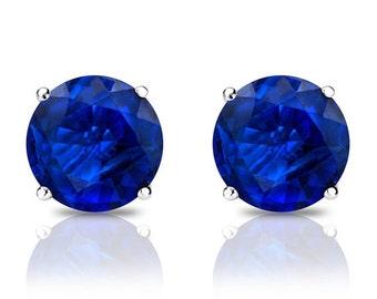Sapphire stud earrings-Gift for Mom-Graduation gift-Gold earnings-Gift for here-Natural sapphire earrings-Handmade sapphire stud earrings