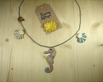 "Necklace chain and wood ""Seahorse and shells"""