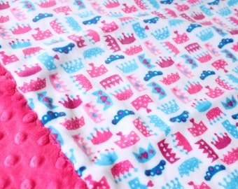Travel Pillowcase - Princess Crown Print Minky with Hot Pink Turquoise or Peacock Dimple Dot Minky Border great for Toddler or Travel Pillow