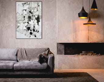 Modern Fine Art Drawing, Large Black and White Art, Abstract Modern Wall Art, 40x28 inches Abstract Contemporary Drawing, Original,