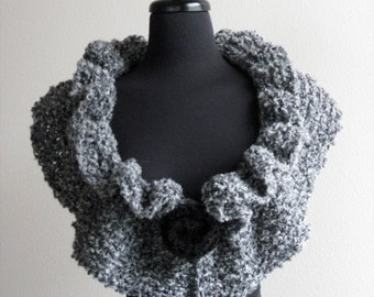 Gray Color Ruffled Knitted Collar Scarf Capelet Necklet with Two Knitted Brooches