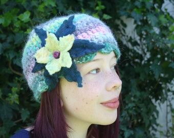 Angora Crochet Hat with Large Felted Flower- Sapphire Blue and Lemon Yellow- Tropical Rainbow