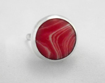Bubble Gum Pink Rhodochrosite and Sterling Silver Ring