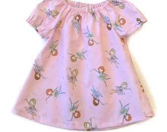 BABY DRESS FAIRIES, pink peasant dress size 3 6 12 18 24 mths, short or long sleeves, baby peasant dress, infant dress
